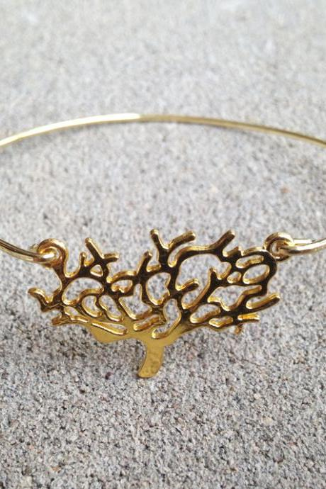 Gold Tree Bangle Bracelet Gold Charm - Stackable Bangle Charm - Tree Bangle - Tree Jewelry - Tree Accessories