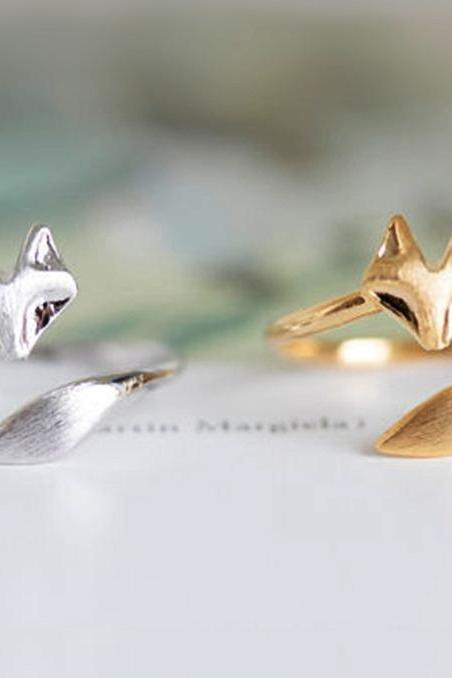 Fox Ring Adjustable - Cute Fox Ring - Fox Jewelry - Finger Ring - Adjustable Ring Band - Fox Jewelry - Fox Accessories